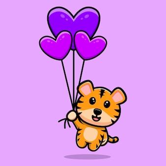 Tigre fofo flutuando com mascote de desenho de balão de coração