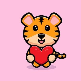 Tigre fofo segurando um mascote de desenho de coração