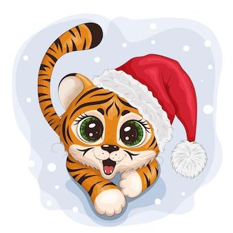 Tigre fofo, símbolo do ano novo 2022. usando um chapéu de papai noel. personagem para o cartão de natal. ilustração eps10 do vetor.