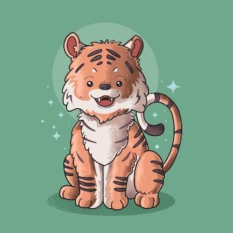 Tigre fofo sorrindo estilo grunge ilustração vetorial