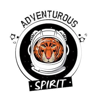 Tigre fresco em capacete de astronauta para t shirt