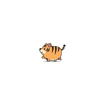 Tigre gordo bonito andando ícone dos desenhos animados