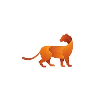 Tigre gradiente. vetor de logotipo de chita ou gato.