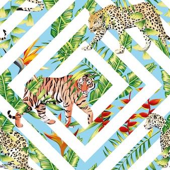 Tigre leopardo padrão sem emenda tropical deixa geométricas