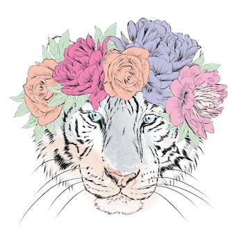 Tigre lindo em uma coroa de flores