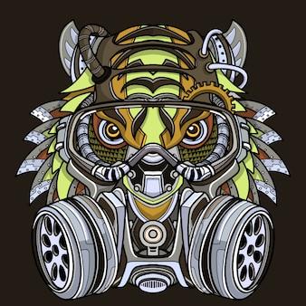 Tigre na ilustração da máscara de gás.