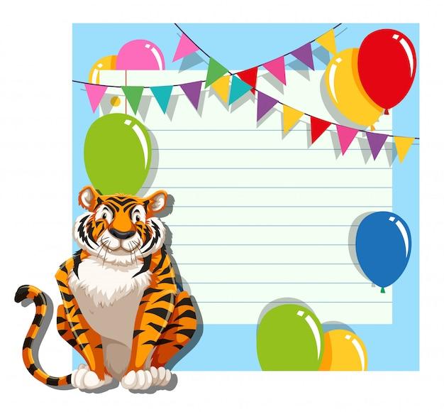 Tigre no modelo de nota