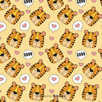 Tigre padrão desenhado à mão design