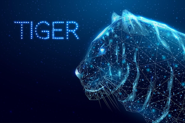 Tigre poligonal em estrutura de arame. conceito com tigre de cabeça poli baixa brilhante. fundo abstrato moderno futurista. ilustração vetorial.