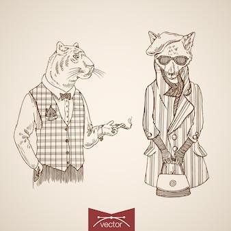Tigre raposa animais empresários hipster estilo humano roupas acessório monóculo óculos amarrar conjunto de ícones.