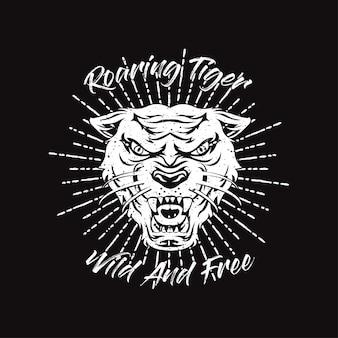 Tigre rugindo de mão desenhada