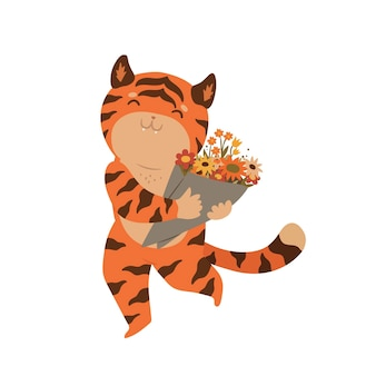 Tigre segurando um buquê de flores isolado em um fundo branco.