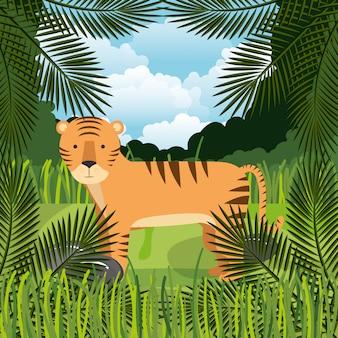 Tigre selvagem na cena da selva