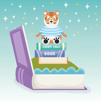 Tigre sentado livros fantasia conto de fadas