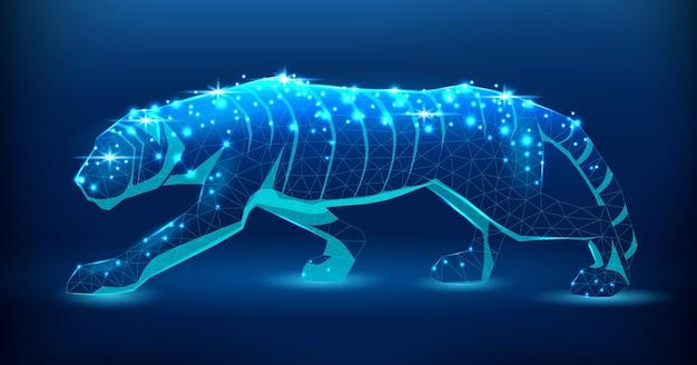 Tigre, uma ilustração em um estilo lowpoly símbolo de 2022 gato selvagem brilhante em um fundo escuro