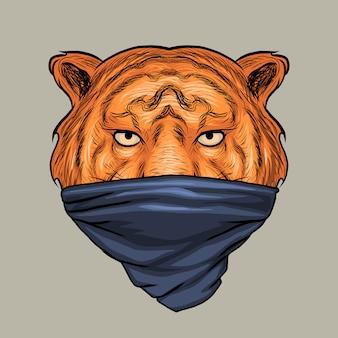 Tigre usando mão de máscaras desenho ilustração