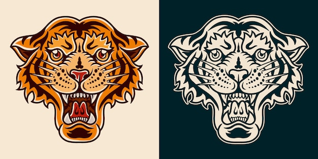 Tigre velha escola mão desenhada estilo retro.