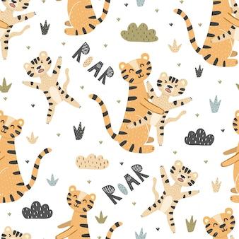 Tigres bonitos mãe e bebê padrão sem emenda. rugido