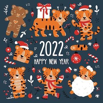 Tigres engraçados de natal e ano novo com fantasias de papai noel em estilo cartoon