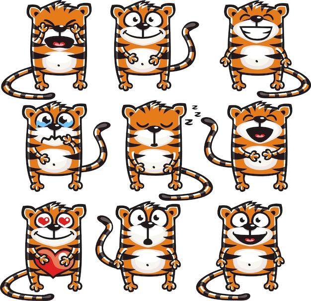 Tigres sorridentes agrupados individualmente para fácil copiar e colar.