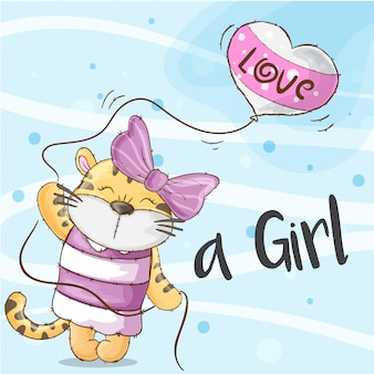 Tigress cute hand drawn animal -vector