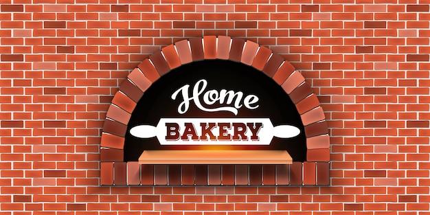 Tijolo de pedra, forno de lenha de pizza, padaria em casa.