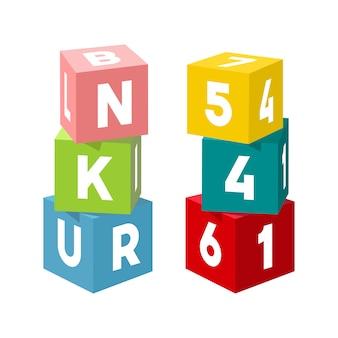 Tijolos de brinquedo colorido brilhante, construção de torres