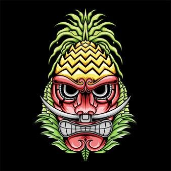 Tiki colorido irritado com ilustração de chapéu de abacaxi