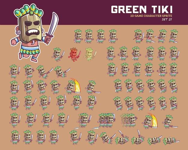 Tiki havaí cartoon jogo personagem animação sprite