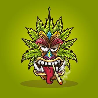 Tiki máscara cannabis maconha fumar maconha.
