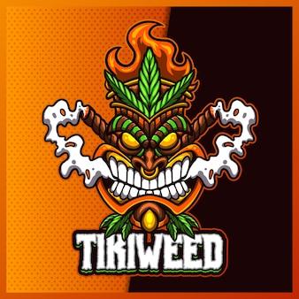 Tiki weed esport e design do logotipo do mascote do esporte com ilustração moderna. ilustração da máscara tiki