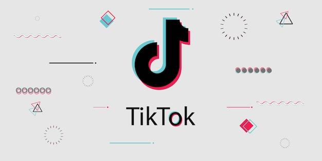 Tiktok plano de fundo de mídia social. estilo de design de .memphis. Vetor Premium
