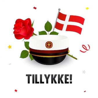 Tillykke! cartão de parabéns, chapéu dinamarquês de formatura