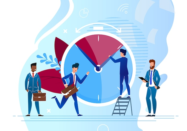 Time control cartoon e colegas de trabalho em pressa para fazer o trabalho