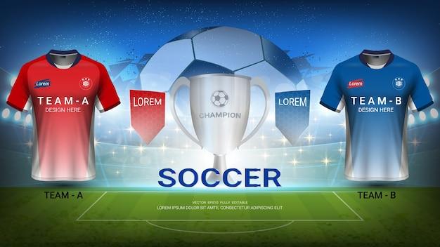 Time de futebol a vs equipe b, final do torneio sport match