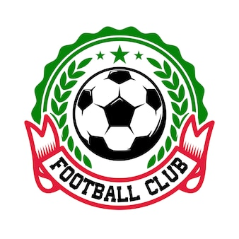 Time de futebol. modelo de emblema com bola de futebol. elemento para o logotipo, etiqueta, sinal, crachá. ilustração Vetor Premium
