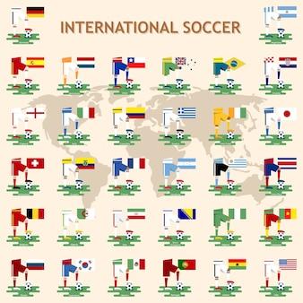 Time de futebol nacional com bandeira