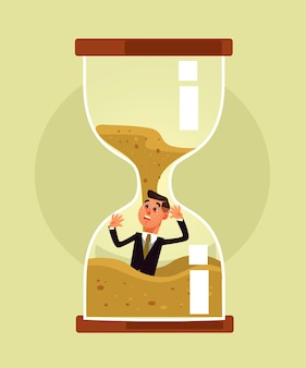 Time over concept cartoon ilustração plana