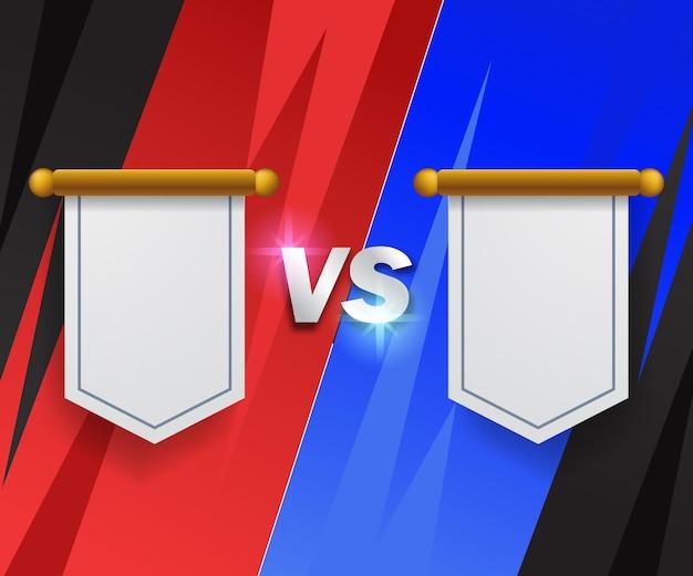 Time vermelho vs time azul, bandeira do logotipo do distintivo versus modelo de luta de torneio de competição com fumaça