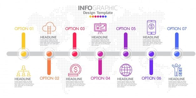 Timeline infográfico design de modelo com opções de cores.