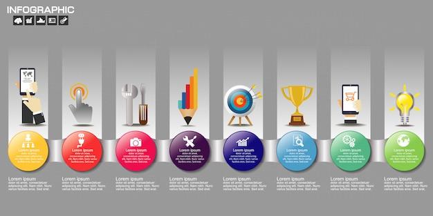 Timeline infográfico gráfico com muitas cores