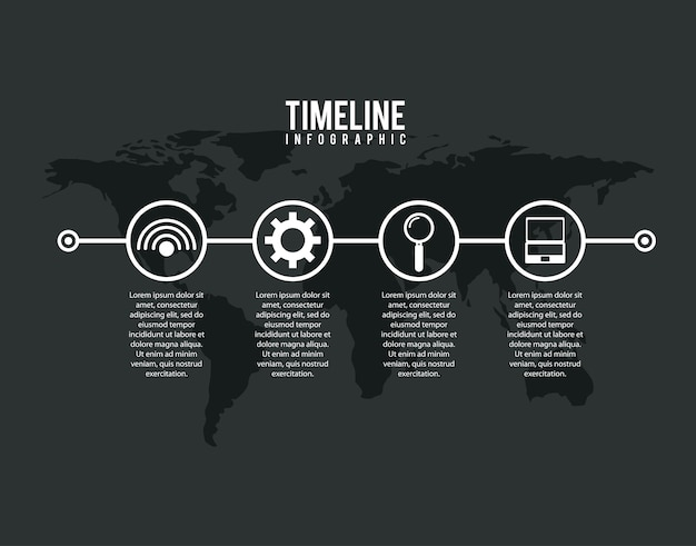 Timeline infographic world internet solution search laptop dark background