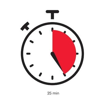 Timer 25 minutos símbolo cor estilo isolado no fundo branco. relógio, cronômetro, etiqueta de tempo de cozimento, ícone do esporte. vetor 10 eps