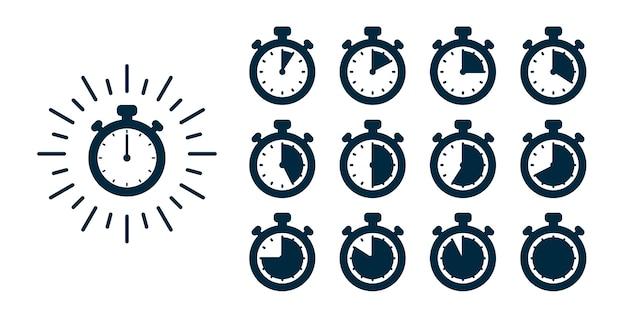 Timer definido. ilustração do cronômetro - relógios em horários diferentes
