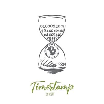 Timestamp, bitcoin, blockchain, moeda, conceito digital. renda passiva desenhada de mão, esboço do conceito de mineração.