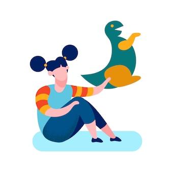 Tímida menina brinquedo macio cartoon ilustração vetorial