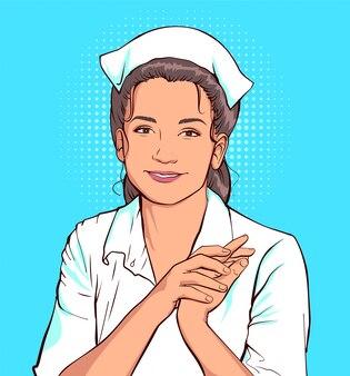 Tímido enfermeira mulher de jaleco branco