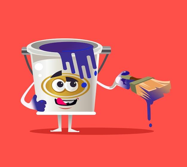 Tin paint can personagem mascote plana cartoon ilustração isolada