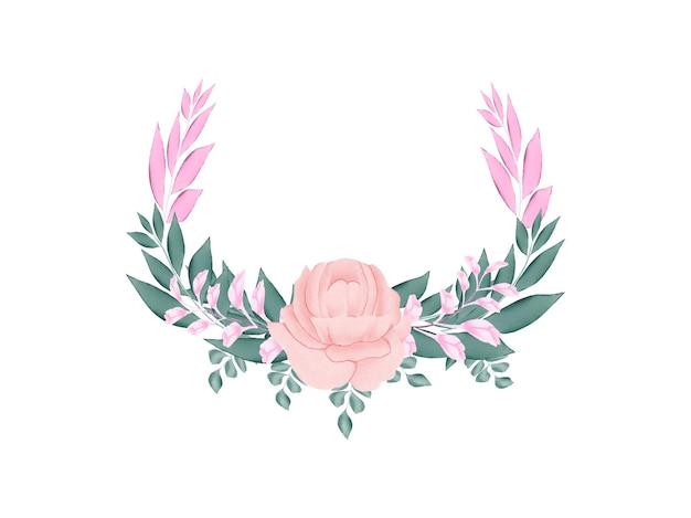 Tinha feito aquarela floral moldura de casamento