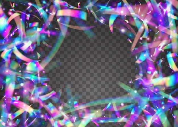 Tinsel iridescente. folha festiva. fundo do holograma. brilho do arco-íris. arte do feriado. textura de metal violeta. banner de laser. luz solar colorida de festa. ouropel iridescente roxo